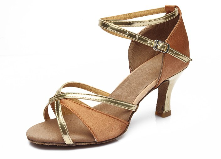 Women Classic Gold Professional Dancing Shoes brown Salsa Me